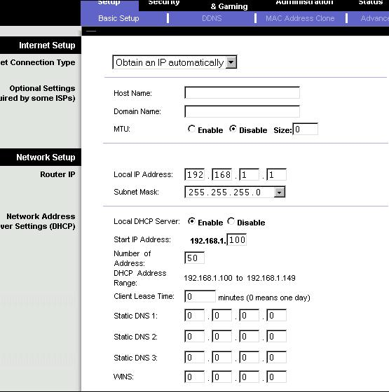 router setup page 192.168.1.1